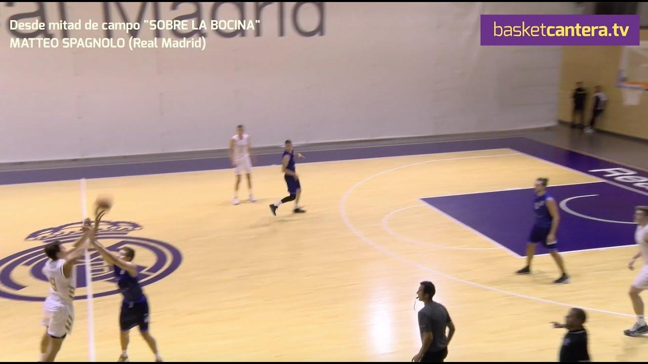 SOBRE LA BOCINA, desde mitad de campo. MATTEO SPAGNOLO (´03) Real Madrid (BasketCantera.TV)