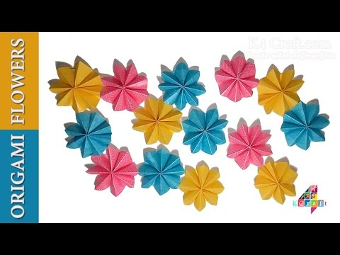 DIY: Simple Origami Paper Flowers (Easy) – Wall / Home Decoration for Diwali Special