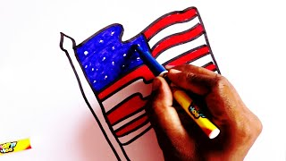 How To Draw An American Flag Easy मफत ऑनलइन