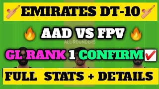 AAD VS FPV Dream 11 | AAD VS FPV Dream 11 Team | AAD VS FPV T-10 Dream 11 Team Predictions | Dt-10 |