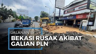 Galian PLN Buat Aspal Jalan Raya Bekasi Hancur akibat Tekanan Lumpur, Lalu Lintas Kacau