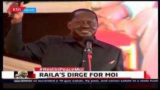 Raila mourns Mzee Moi in Dholuo dirge akin to Jaramogi's after Jomo Kenyatta's death
