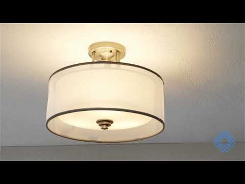 Video for Lacey Antique Pewter Three-Light Semi-Flush Mount