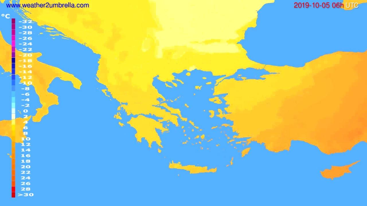 Temperature forecast Greece // modelrun: 12h UTC 2019-10-02