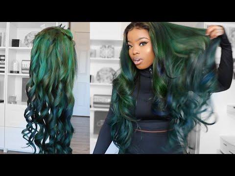2- Step Easy DIY Lace Wig Tutorial || MERMAID GREEN 😍 | Alipearl