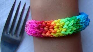 Смотреть онлайн Крутой браслет чешуя дракона, плетение на вилке