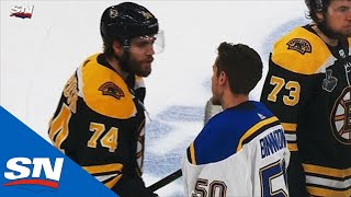 Blues Shake Hands With Bruins At Conclusion of Game 7 Of 2019 Stanley Cup Final