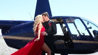 Photo Shoot on a Helicopter with Gretchen Rossi and Slade Smiley for Amare' Magazine
