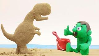 Dinosaur T Rex sand baby superhero stop motion