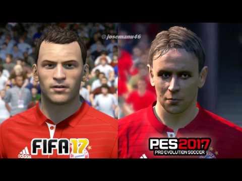 FIFA 17 vs PES 2017 BAYERN MUNICH Face Comparison