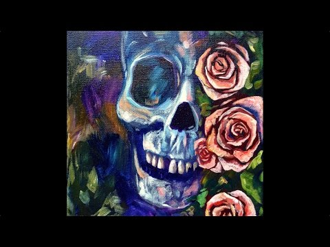 Skull And Roses Acrylic Painting On Canvas For Beginners Step By Step