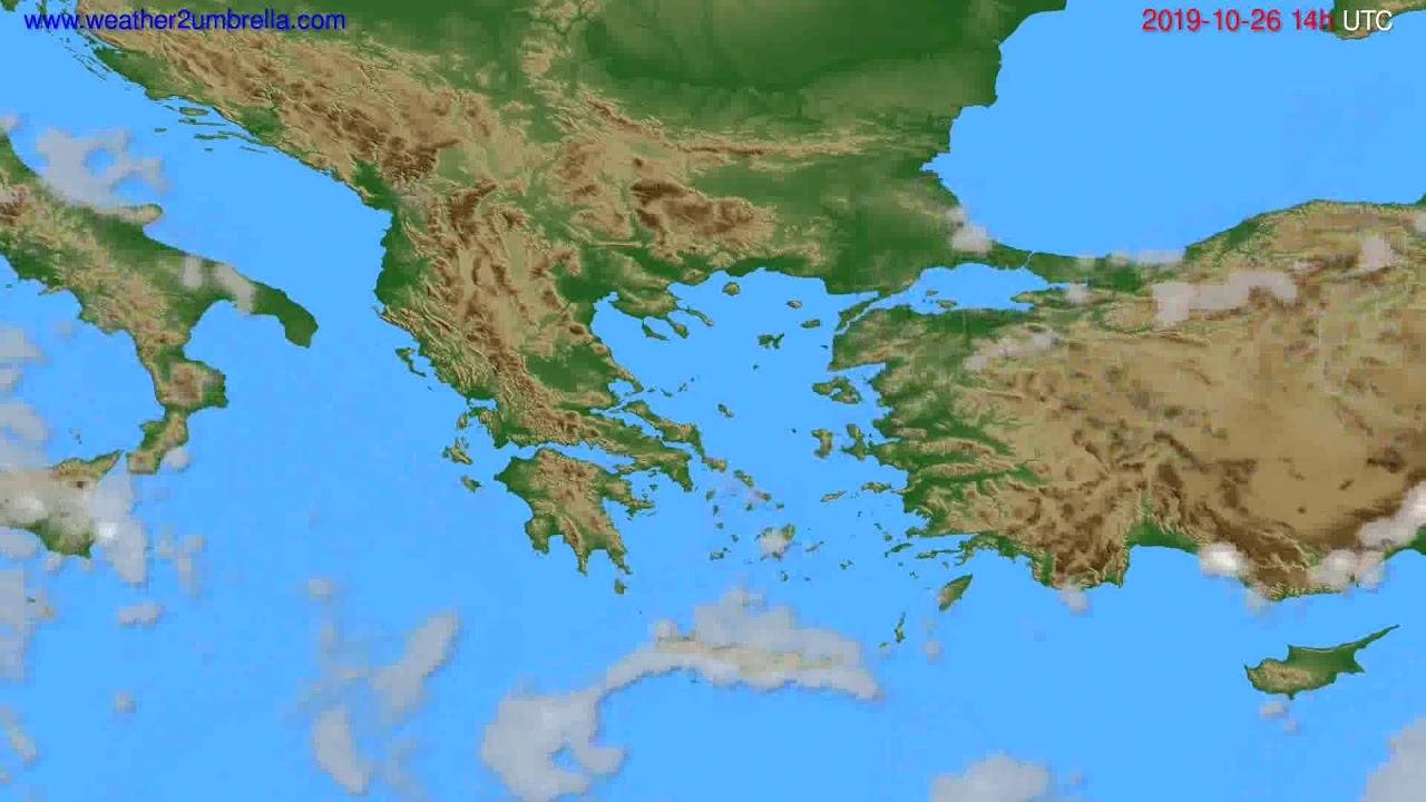 Cloud forecast Greece // modelrun: 12h UTC 2019-10-24
