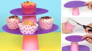 How To Make A Cupcake Stand From Paper Cups & Plates