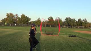 7 year old baseball hitting and pitching drills with the PowerNet