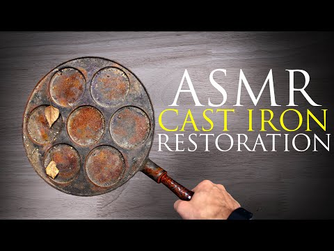 Unintentional ASMR Cast Iron pan restoration cleaning/ No talking/ Relaxing/ Tool Sounds/Restoration