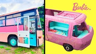 Bug and Dad Made School Bus into Barbie Style house