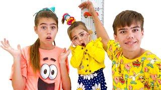 Nastya dan Mia ingin menggunakan trampolin baru Настя и Мия хочет прыгать на новом батуте