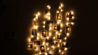 Diy Photo Fairy Light  Bedroom Wall Decoration Idea #craft #walldecoration #picture