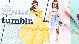 Disney Tumblr. Girl | How To Draw Modern Belle || Foxy Draws