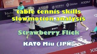 table tennis skills slowmotion analysis Strawberry Flick