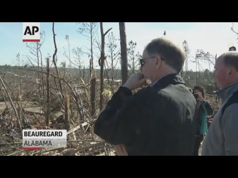 Alabama Sen. Doug Jones toured the tornado destruction in Beauregard. (March 7)