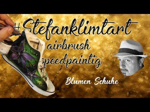 stefanklimtart Airbrush zeigt euch blumen sneakers custompainting