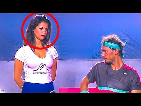 Hottest Ball Girl In Tennis History staring at  RAFAEL NADAL
