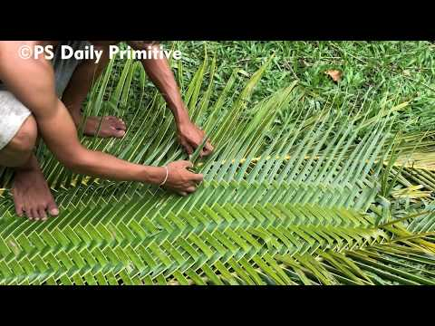 Download Primitive Technology: Build the Wall of Toilet (WC) With Using Coconut Leaf Mp4 HD Video and MP3