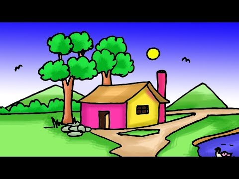 Easy Kids Drawing Tutorial How To Draw Simple Village Scenery Step