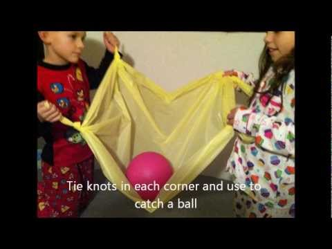 Screenshot of video: 5 new Gross motor activities using a plastic tablecloth from the Poundshop