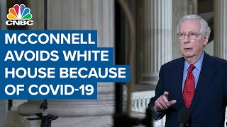 Senate Majority Leader Mitch McConnell avoids the White House because of Covid-19