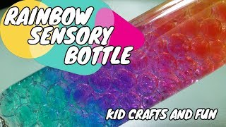 Rainbow Sensory Bottle! Using WATER BEADS!