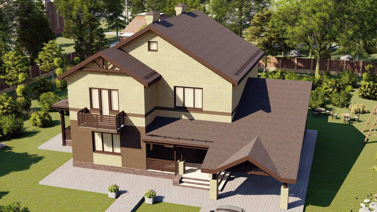 Проект дома 210-A, Площадь дома: 210 м2, Размер дома:  12,4x18,8 м