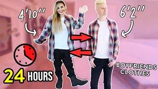 WEARING MY BOYFRIENDS CLOTHES FOR 24 HOURS! thumbnail