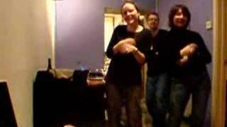 Kel, Elaine and Paul doing Abba