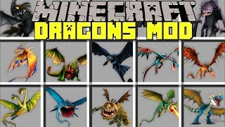 Minecraft DRAGONS MOD L SPAWN & TAME GIANT DRAGONS TO BATTLE MOBS! L Modded Mini-Game