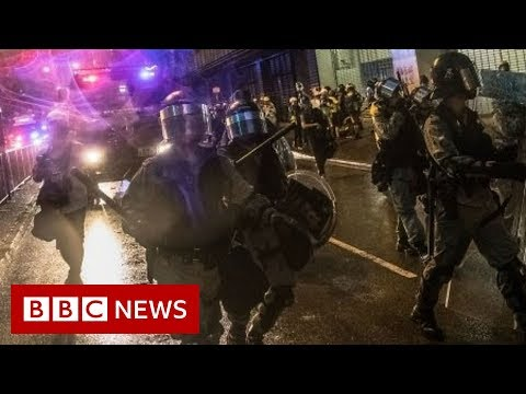 Hong Kong protests: Shot fired and water cannon used - BBC News