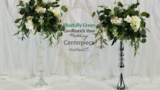 DIY Tall Blissfully Green Candlestick Wedding Centerpiece with $5Dollar Tree Vase Hack!|DIY Tutorial
