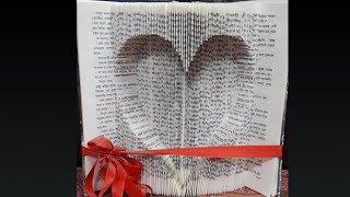 Book Folding Art - Inverted Heart
