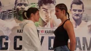KATIE TAYLOR v KARINA KOPINSKA GO HEAD TO HEAD @ FINAL PRESS CONFERENCE / BIG CITY DREAMS