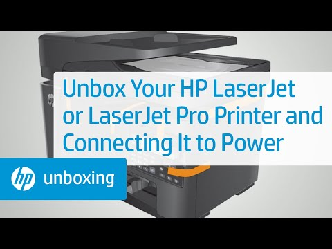 Unboxing and connecting your HP LaserJet printer to power
