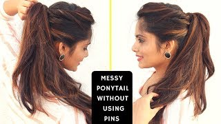 Messy High Ponytail Without Using Bobby Pins | Komals Hairstyle