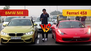 Street Racing in India | BMW M4 and Ferrari 458 Italia | Supercar Drag Race