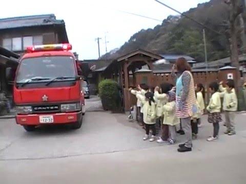 動画:加津佐地区消防団が出初め式に合わせ若木保育園訪問