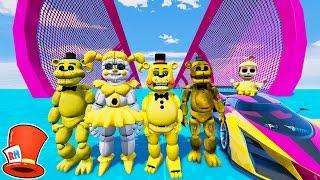ALL GOLDEN ANIMATRONICS STUNT ON WORLD'S BIGGEST RAMP! (GTA 5 Mods For Kids FNAF) RedHatter