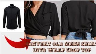 DIY Mens Shirt Into Wrap Top With Ruffle Sleeve In 10mins|| Re-use Of Old Mens Shirt(Hindi)
