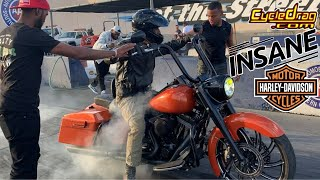 INSANELY POWERFUL HARLEY DAVIDSON BAGGER NEARLY FLIPS OVER BACKWARDS AT MOTORCYCLE DRAG RACE!