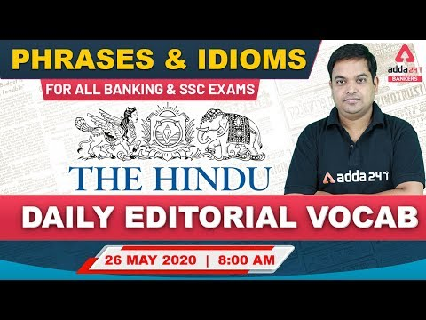 The Hindu Vocabulary | The Hindu Editorial Vocab for Banking & SSC Exams | 26 May 2020