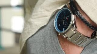 Sem Lewis Metropolitan Oxford chronograph men's watch silver grey/silver