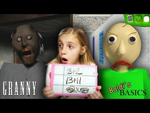 Baldi's Basics at Granny's Homeschool!   Granny Horror Game and Baldi's Basics in REAL LIFE COMBINED
